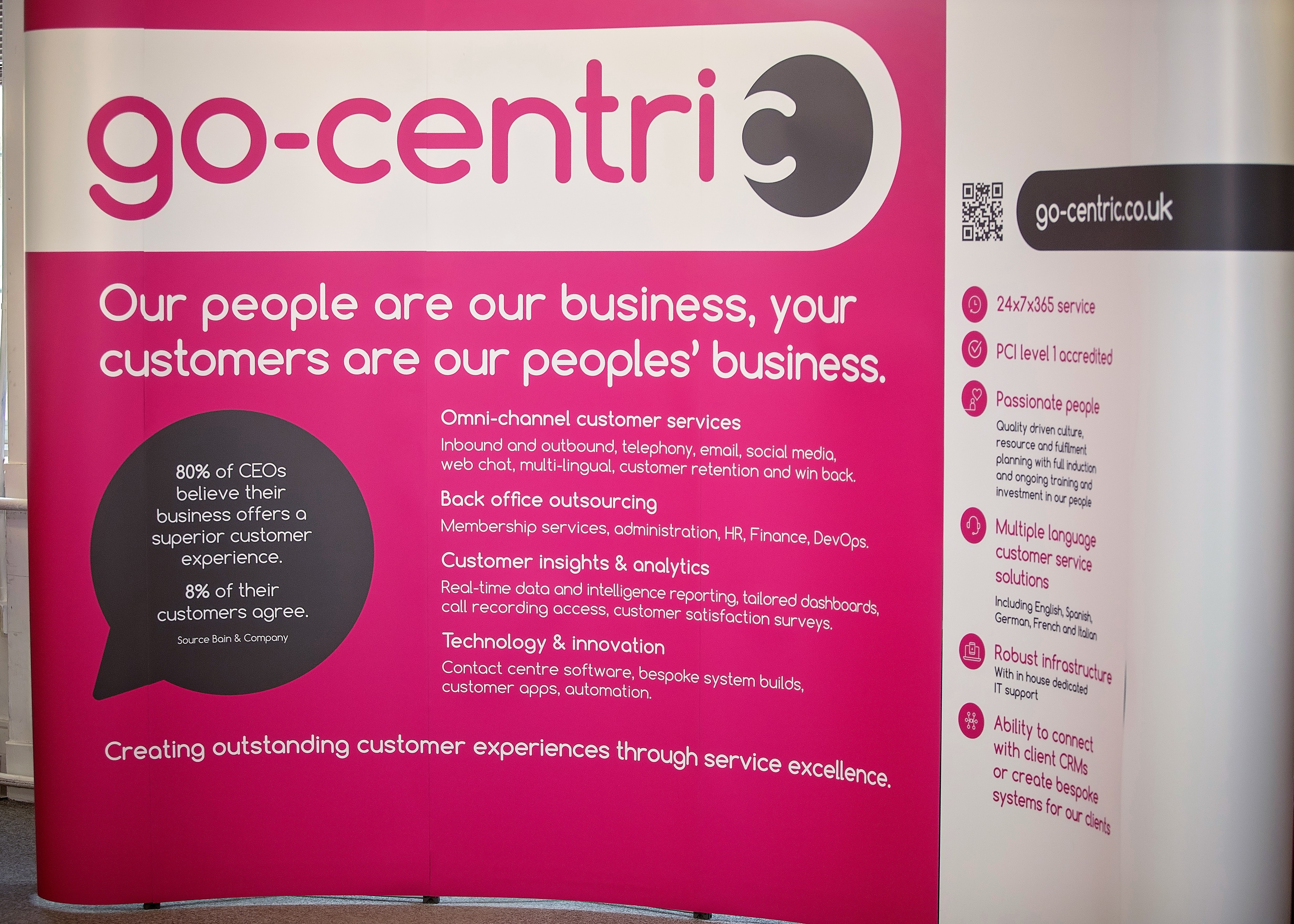 go-centric promotional stand